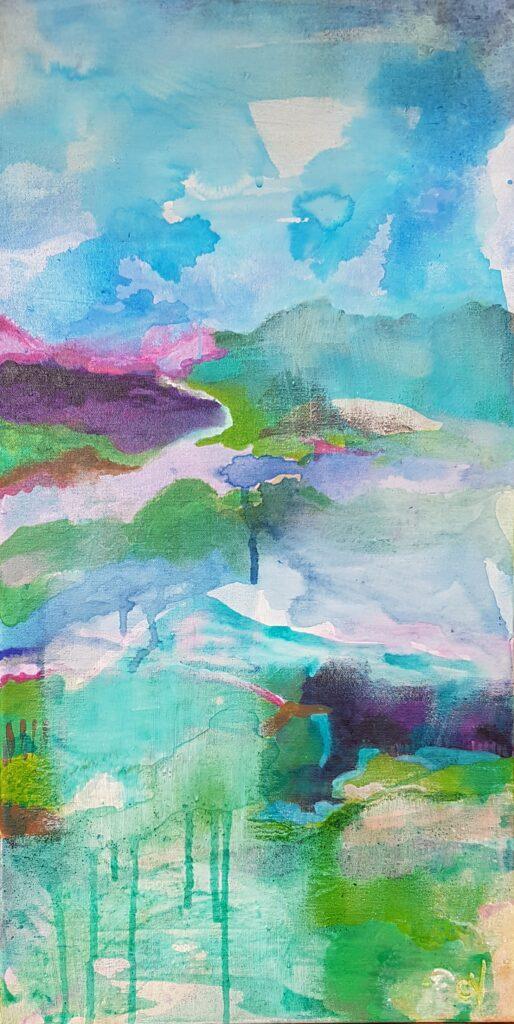 """Målning. Akvarell och akryl. Landskap """"Ljusare tider"""""""